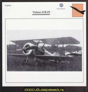 VICKERS F.B.19 FB19 Fighter Airplane ATLAS PICTURE CARD