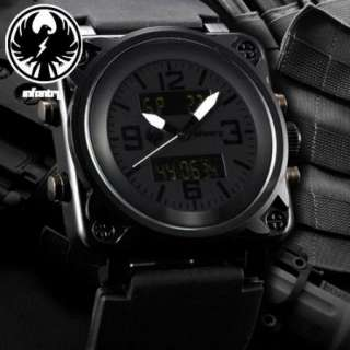 LCD Military Black Sport Mens Wrist Watch Rubber Band Alarm New