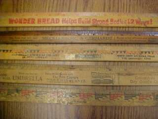 LOT 85 VINTAGE ADVERTISING YARDSTICKS RULERS WOOD METAL