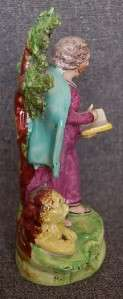 CENTURY STAFFORDSHIRE PEARLWARE FIGURE OF ST. MARK WITH LION AT FEET
