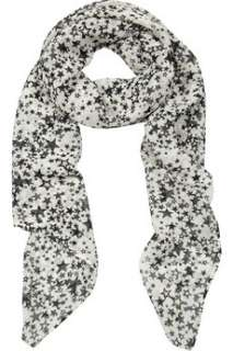 Helene Berman Star print georgette scarf   0% Off Now at THE OUTNET