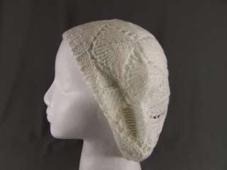 Cream Off White open knit soft beret slouchy baggy tam hat cap beanie