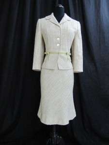 Ann Taylor Light Sage Green Chunky Tweed A Line Dress Fitted Jacket