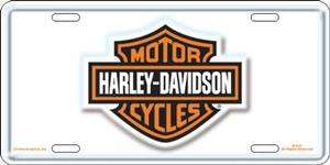 HARLEY DAVIDSON MOTORCYCLE LOGO WHITE EMBLEM CAR METAL LICENSE PLATE