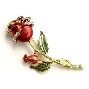 Gold Tone Ruby Enamel Painted Rhinestone Magical Beast Beauty Rose Pin