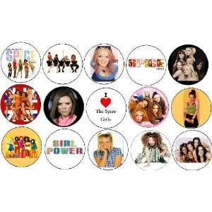 Set of 15 Spice Girls Pinback Buttons Pins Everything