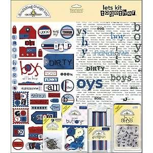 Doodlebug Lets Kit Together Page Kit W/Embellishments 12x12   Boys