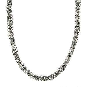 Sterling Silver Glitter Weave 18 Necklace