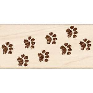 Rubber Stamp With Wood Handle   Kitty Cat Paw Border