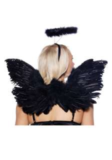 Black Angel Wings and Halo Set   Angel Costumes