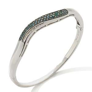 Blue and White Diamond Sterling Silver 7 Bangle Bracelet
