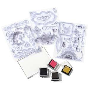 Anna Griffin® Flourish Clear Stamp Set with 4 Inks