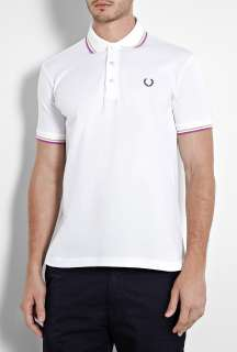 Fred Perry Laurel Wreath  White Japanese Twin Tip Polo Shirt by Fred