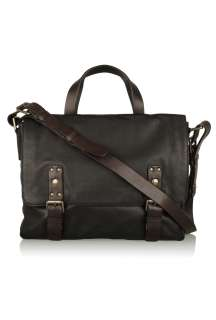 Black Leather Double Messenger Bag by Marc by Marc Jacobs   Black