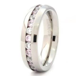 Amethyst Eternity CZ Ladies Titanium Wedding Band Ring Jewelry