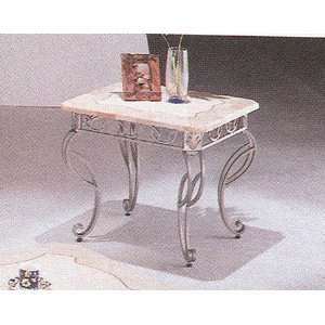 Marble Top Antique Style Wrought Iron Silver & Gold Finish