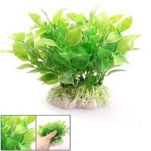 Aquarium Fish Tank White Ceramic Base Green Leaf Plastic Plants Decor