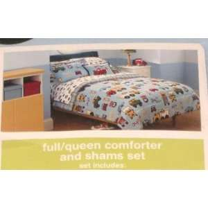 Boys Full Queen Bed Comforter & Sham Set with Cars Trucks