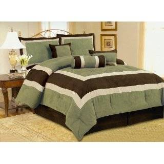 Quality Soft Micro Suede Comforter Set Bedding in a bag, Green   Queen