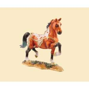 Brown Horse Jeweled Box Enameled pewter box bejeweled with Austrian