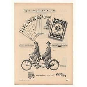 1952 Bicycle Playing Cards Men Tandem Bike Trade Print Ad (Memorabilia