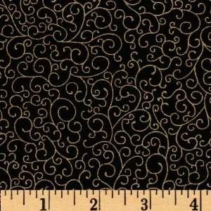 44 Wide Luxury Blender Swirls Black/Gold Metallic Fabric