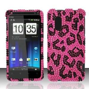 PINK LEOPARD Hard Plastic Bling Rhinestone Case for HTC