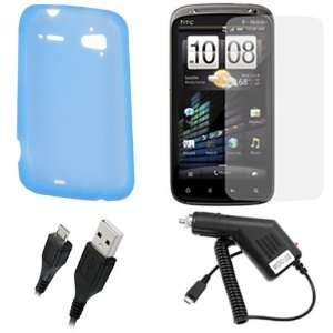 Blue) + Clear LCD Screen Protector Film Guard + Rapid Car Charger