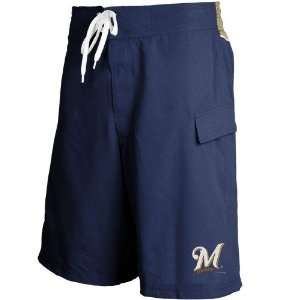 Milwaukee Brewers Navy Blue Team Logo Boardshorts: Sports