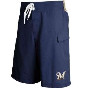 Milwaukee Brewers Navy Blue Team Logo Boardshorts: Sports