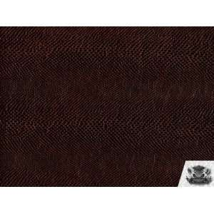 Vinyl Snake DARK BROWN Faux / Fake Leather Upholstery Fabric By the