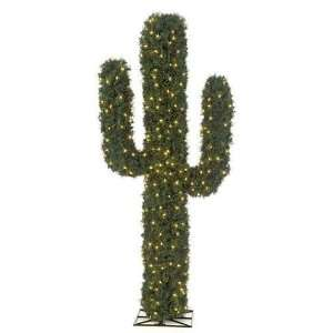 Foot PVC Cactus   Green   Clear LED Lights Patio, Lawn & Garden
