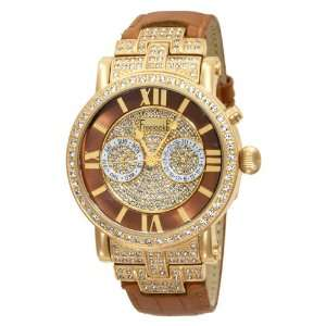 Yellow Gold Plated Case Brown Band Swarovski Crystals Watch Watches