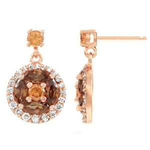 Devos Unique CZ Dangle Fashion Earrings   Rose Gold Plated Jewelry
