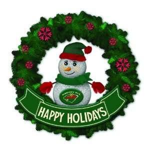 Wild Lighted Snowman Artificial Christmas Wreath