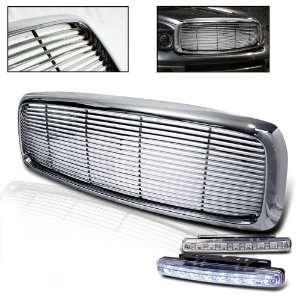 Pickup Chrome Vertical Grill Grille + 8 LED Bumper Light Automotive