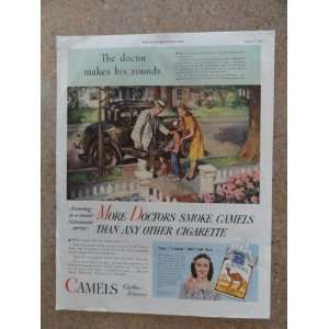 Camel cigarettes, Vintage 40s full page print ad (the doctor makes