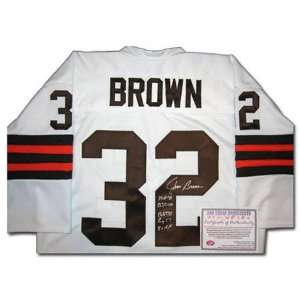 Jim Brown Cleveland Browns Autographed Authentic White Jersey with 5