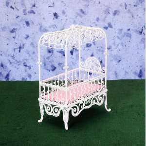 Dollhouse Miniature White Wire Canopy Crib  Toys & Games