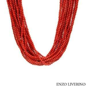 ENZO LIVERINO 18K Yellow Gold Coral Ladies Necklace. Length 19 in