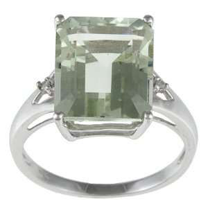 Gold Emerald Cut Green Amethyst and Diamond Ring  size 5.5 Jewelry