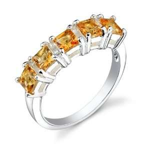 Finish 1.00 cts Princess Cut Citrine Ring Size 7 Peora Jewelry