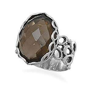 Silver Oval Faceted Smoky Quartz Ring   Size 6 West Coast Jewelry