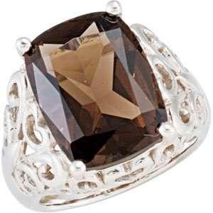 Sterling Silver 16.00X12.00 MM Genuine Smoky Quartz Ring Jewelry