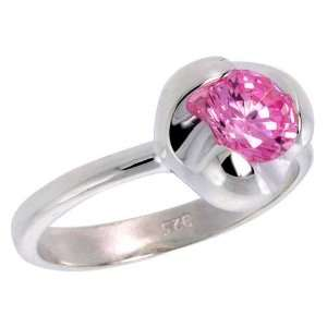 Sterling Silver Pink Tourmaline Colored CZ Flower Solitaire Ring