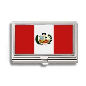 Peru Peruvian Flag Business Card Holder Metal Case