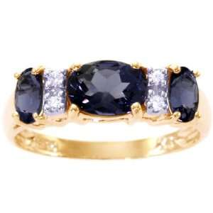 Three Stone Oval Gemstone and Diamond Anniversary Ring Iolite, size7.5