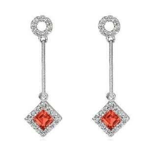14k White Gold Stylish Garnet Diamond Drop Earrings Jewelry