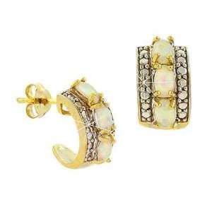 Created White Opal & Diamond Accent Oval Half Hoop Earrings Jewelry