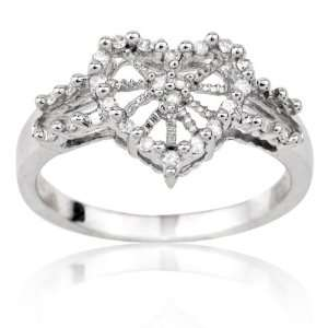 10k White Gold and 0.15 ctw Diamond Heart Ring 9.5 Jewelry